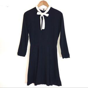 Reformation Navy Blue Dress With White Necktie